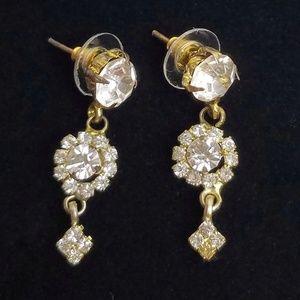 Vintage Rhinestone Dangle Post Earrings